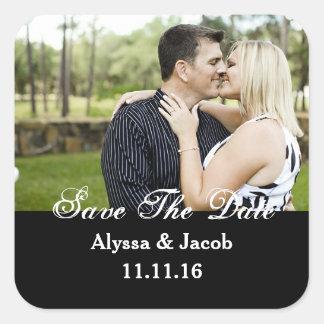 Einfaches Wedding Paar-Foto Save the Date Quadrat-Aufkleber