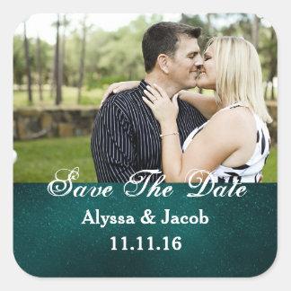 Einfaches Wedding Paar-Foto Save the Date Quadratischer Aufkleber