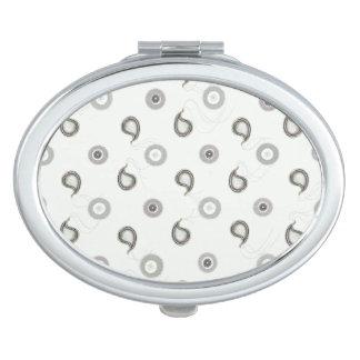 Einfaches weißes und graues Paisley Taschenspiegel