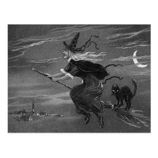 Einfarbige Hexe-Besen-schwarze Katze Postkarte