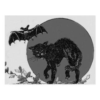Einfarbiger schwarze Katzen-Schläger-Vollmond Postkarte