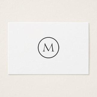 Einfarbiger unbedeutender mit Monogramm weißer Visitenkarte
