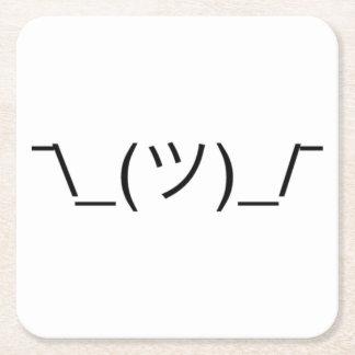 Eingebildetes Shrug ¯ \ _(ツ) _/¯ festes Schwarzes Rechteckiger Pappuntersetzer