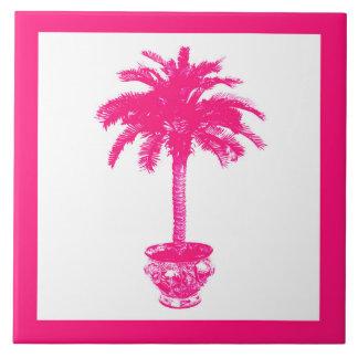 Eingemachte Palme - pinkfarbenes rosa und Weiß Fliese
