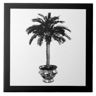 Eingemachte Palme - Schwarzweiss Fliese