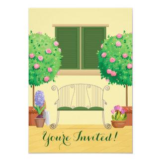 Eingemachter Garten mit Bank-Brautparty-Einladung 12,7 X 17,8 Cm Einladungskarte