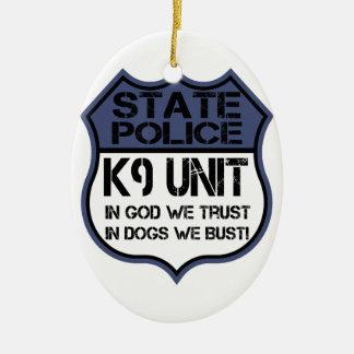 Einheit der Staats-Polizei-K9 im Gott vertrauen Keramik Ornament