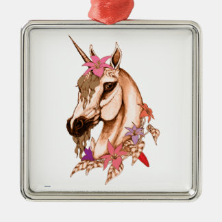 Einhorn 3 silbernes ornament