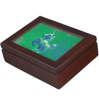 Einhorn-Andenken-Kasten (glühend Smaragd) Erinnerungsschachteln