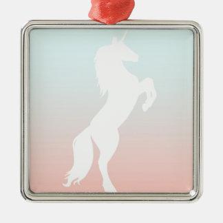 Einhorn auf Pastell Silbernes Ornament