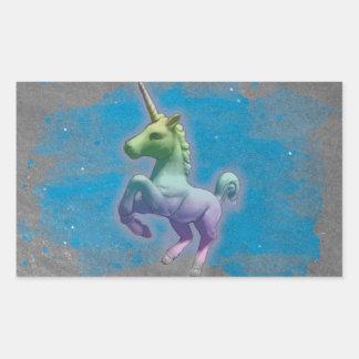 Einhorn-Aufkleber-Rechteck (blauer Nebelfleck) Rechteckiger Aufkleber