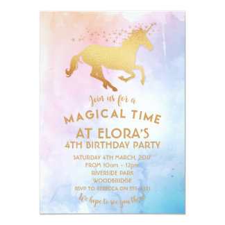 Einhorn-Einladung, Geburtstags-Gold magisch 12,7 X 17,8 Cm Einladungskarte
