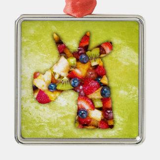 Einhorn-Fruchtsalat Silbernes Ornament