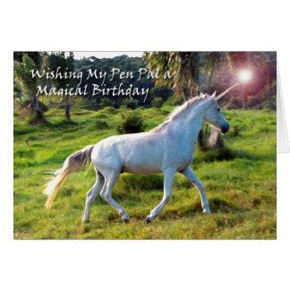Einhorn, Geburtstag für Brieffreund, magischer Karte
