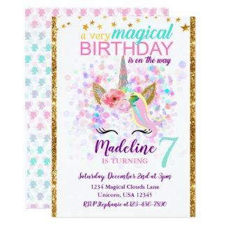 Einhorn-Geburtstags-Einladungs-magische Feier Karte