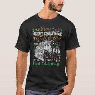 Einhorn-hässliche Weihnachtsstrickjacke-Tier-Reihe T-Shirt