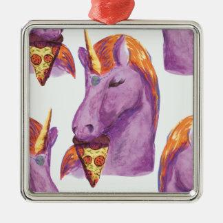 einhorn isst Pizza Silbernes Ornament
