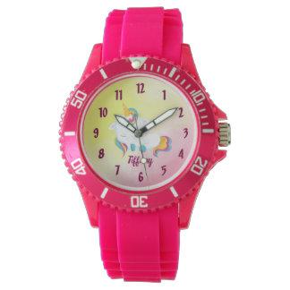 Einhorn-Liebhaber-rosa und gelber Hintergrund Uhr