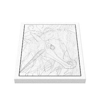 Einhorn-Linie Kunst-Entwurf Leinwanddruck