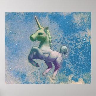 Einhorn-Plakat-Kunst-Druck 24x20 (blaue Arktis) Poster