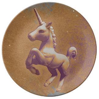 Einhorn-Porzellan-Platten-Dekor (Metalllavendel) Porzellanteller