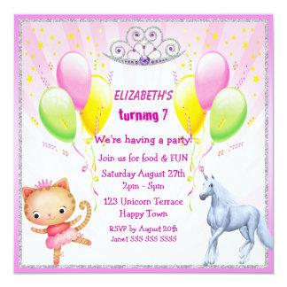 Einhorn, Prinzessin Kitty, Tiara u. Ballone lädt Quadratische 13,3 Cm Einladungskarte