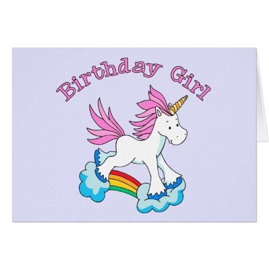 Einhorn-Regenbogen-Geburtstags-Mädchen Mitteilungskarte