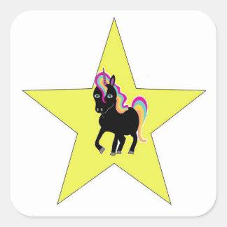 Einhorn-Sternaufkleber Quadratischer Aufkleber