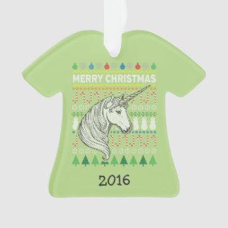 Einhorn-Tier-frohe Weihnacht-hässliche Strickjacke Ornament