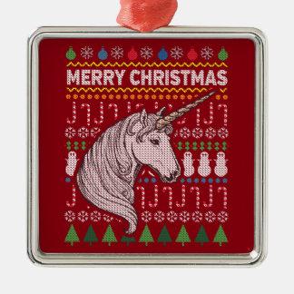 Einhorn-Tier-frohe Weihnacht-hässliche Strickjacke Quadratisches Silberfarbenes Ornament