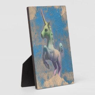 Einhorn-Tischplatte-Plakette 5.25in (Sandy-Blau) Fotoplatte