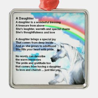 Einhorn - Tochter-Gedicht Silbernes Ornament