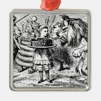Einhorn und Löwe Silbernes Ornament