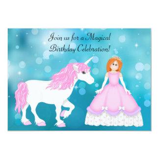 Einhorn und Prinzessin mit rotem Haar-Geburtstag 12,7 X 17,8 Cm Einladungskarte