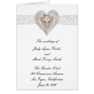 Einhorn-und Spitze-Hochzeits-Programm-Karte Grußkarte