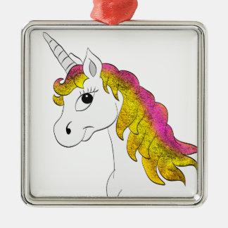 Einhorn Unicorn Silbernes Ornament