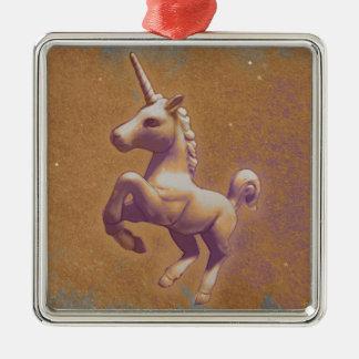 Einhorn-Verzierung - quadratische Prämie Silbernes Ornament