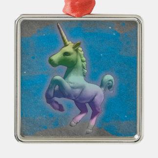 Einhorn-Verzierung - quadratisches Premiu (blauer Silbernes Ornament