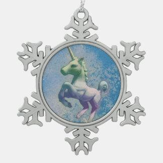 Einhorn-Verzierung - Schneeflocke (blaue Arktis) Schneeflocken Zinn-Ornament