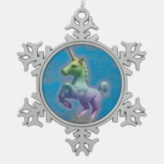 Einhorn-Verzierung - Schneeflocke (blauer Schneeflocken Zinn-Ornament
