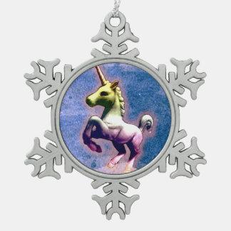 Einhorn-Verzierung - Schneeflocke (gebranntes Schneeflocken Zinn-Ornament