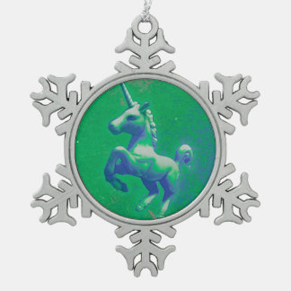 Einhorn-Verzierung - Schneeflocke (glühend Schneeflocken Zinn-Ornament