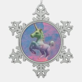 Einhorn-Verzierung - Schneeflocke (Kuchen-Rosa) Schneeflocken Zinn-Ornament