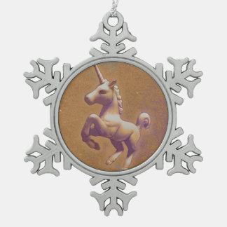 Einhorn-Verzierung - Schneeflocke (Metalllavendel) Schneeflocken Zinn-Ornament