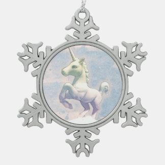 Einhorn-Verzierung - Schneeflocke (Mond-Träume) Schneeflocken Zinn-Ornament