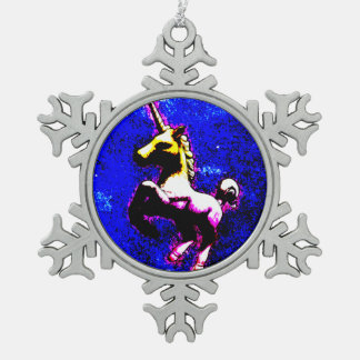 Einhorn-Verzierung - Schneeflocke (Punkkleiner Schneeflocken Zinn-Ornament
