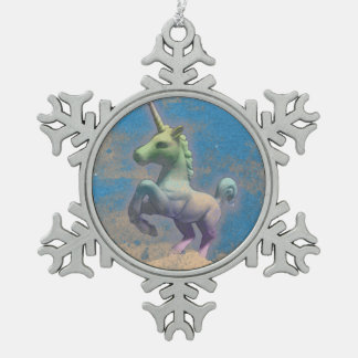 Einhorn-Verzierung - Schneeflocke (Sandy-Blau) Schneeflocken Zinn-Ornament