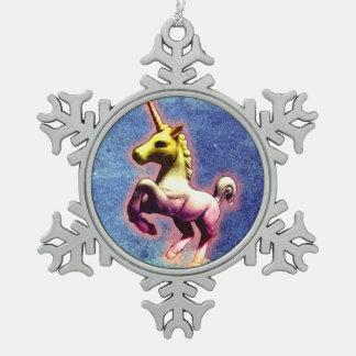 Einhorn-Verzierung - Schneeflocke Schneeflocken Zinn-Ornament