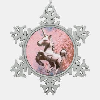 Einhorn-Verzierung - Schneeflocke (verblaßtes Schneeflocken Zinn-Ornament