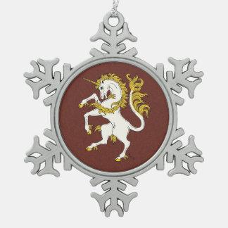 Einhorn zügellos schneeflocken Zinn-Ornament